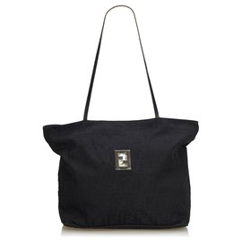 Fendi-Fendi Black Zucca Canvas Tote Bag-Black