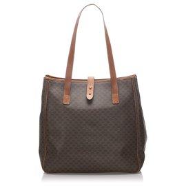 Céline-Celine Brown Macadam Tote Bag-Brown,Dark brown