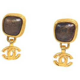Chanel-Chanel Gold Resin CC Drop Earrings-Brown,Golden