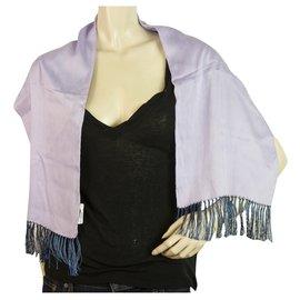 Yves Saint Laurent-Yves Saint Laurent Vintage Purple Long Rectangular Silk Rayon Scarf with Fringes-Purple