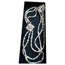 Chanel-Chanel long pearl triple strand necklace-Other