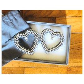 Balenciaga-Balenciaga large crystal heart earrings-Silvery