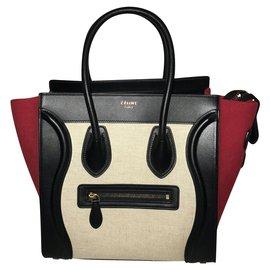 Céline-Céline Luggage-Red,Eggshell