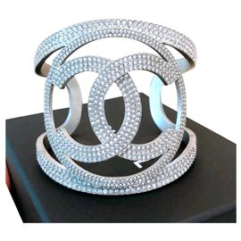 Chanel-Large Chanel CC crystal cuff-Silvery