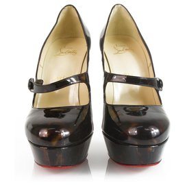 Christian Louboutin-Chr Louboutin Wallis 140mm Brown Black Patent Heels 38-Schwarz