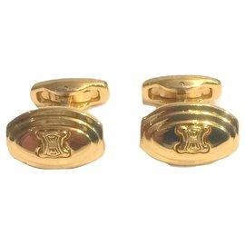 Céline-CELINE vintage Triomphe cufflinks-Golden