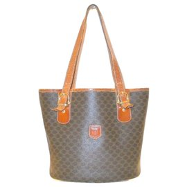 Céline-CELINE Vintage Macadam Beuteltasche Triomphe Logo-Braun,Orange