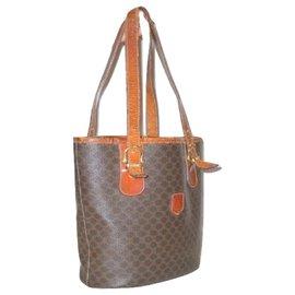 Céline-CELINE vintage Macadam bucket bag Triomphe logo-Brown,Orange