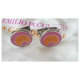Emilio Pucci-Manschettenknöpfe-Silber,Pink,Orange