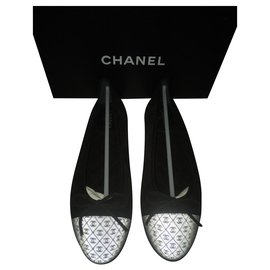 Chanel-Beautiful logo ballerinas 3D-Black,White