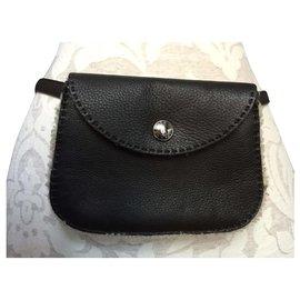Hermès-HERMES Leather waist pouch-Dark brown
