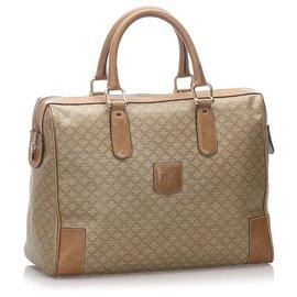 Céline-Celine Brown Macadam Boston Bag-Brown,Light brown