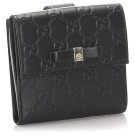 Gucci-Gucci Black Guccissima Bow Signature Wallet-Black