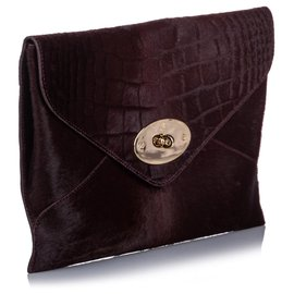 Mulberry-Mulberry Red Pony Hair Willow Clutch Bag-Red,Other