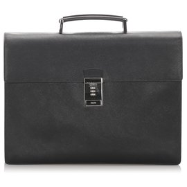 Prada-Prada Black Saffiano Briefcase-Black