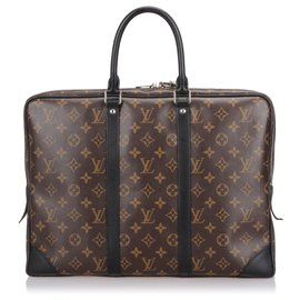 Louis Vuitton-Louis Vuitton Brown Monogram Macassar Porte-Documents Voyage GM-Marron,Noir