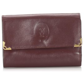 Cartier-Cartier Red Must de Cartier Leather Small Wallet-Red,Dark red