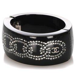 Chanel-Chanel Black CC Resin Bangle-Black,Grey