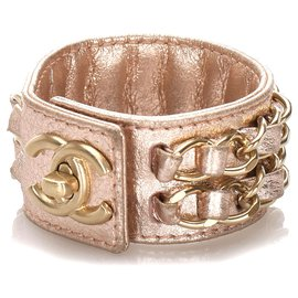 Chanel-Chanel Pink CC Turnlock Lambskin Leather Cuff-Pink,Other
