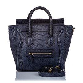 Céline-Celine Black Python Nano Gepäcktasche-Schwarz