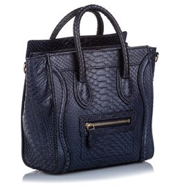 Céline-Celine Black Python Nano Luggage Satchel-Black
