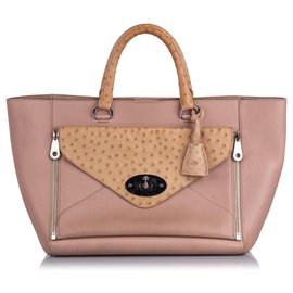 Mulberry-Mulberry Pink Ostrich-Trimmed Willow Tote Bag-Brown,Pink,Beige