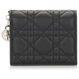 Dior-Dior Black Cannage Mini Lady Dior Compact Wallet-Black