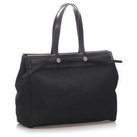Hermès-Hermes Black Herbag Cabas MM-Noir