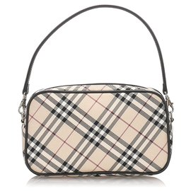Burberry-Burberry Brown Nova Check Canvas Pouch-Brown,Multiple colors,Light brown