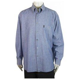 Ermenegildo Zegna-Ermenegildo Zegna Sport Lightweight Blue Denim Shirt Long Sleeve Cotton Mens XXL-Light blue