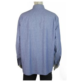 Ermenegildo Zegna-Ermenegildo Zegna Sport Lightweight Blue Denim Shirt Long Sleeve Cotton Mens XXL-Light blue
