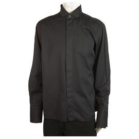 Calvin Klein-Calvin Klein Black Cotton Silk Tuxedo Shirt Long Sleeve Cotton Mens 44/17,5''-Black