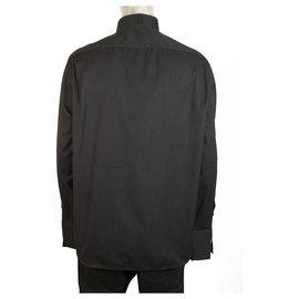 Calvin Klein-Calvin Klein Schwarz Baumwolle Seide Smoking Shirt Langarm Baumwolle Herren 44/17,5''-Schwarz