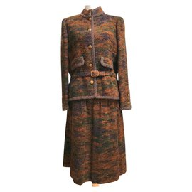 Chanel-Skirt suit-Brown,Green,Purple