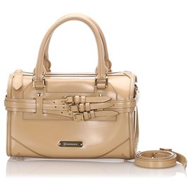 Burberry-Burberry Brown Patent Leather Satchel-Brown,Beige