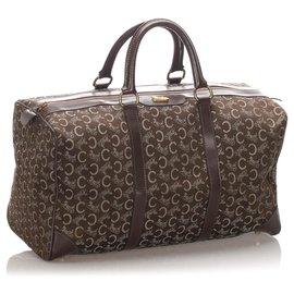 Céline-Celine Brown C Macadam Canvas Travel Bag-Brown