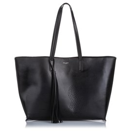 Yves Saint Laurent-YSL Black Perforated Leather Shopping Tote-Black