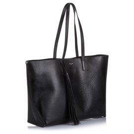Yves Saint Laurent-YSL Black Perforated Leather Einkaufstasche-Schwarz