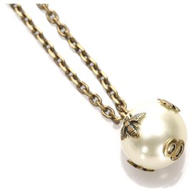 Dior-Dior Brown Faux Pearl Pendant Necklace-Brown,White,Bronze