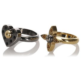 Louis Vuitton-Louis Vuitton Silver Love Letters Timeless Ring Set-Argenté,Doré
