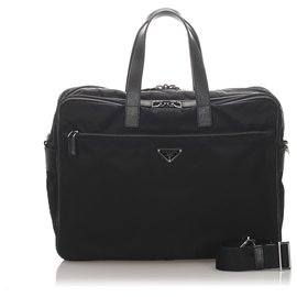Prada-Prada Black Tessuto Business Bag-Black