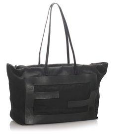 Fendi-Fendi Black Canvas Tote Bag-Black