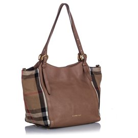 Burberry-Burberry Brown Derby House Check Canterbury Tote-Brown,Multiple colors