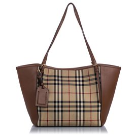 Burberry-Burberry Brown Horseferry Check Canterbury Panels Tote-Brown,Multiple colors,Beige