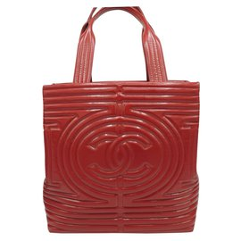 Chanel-CHANEL TOTE BAG In red glazed leather-Red