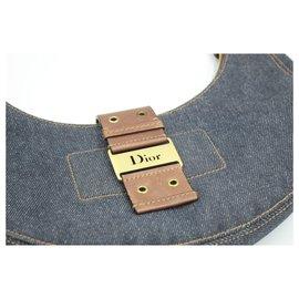 Dior-Dior half moon bag in denim and brown leather-Marron,Bleu