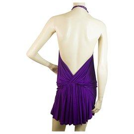 Dsquared2-Dsquared 2 Mini robe en viscose violette dos nu à bretelles fines et taille S-Violet