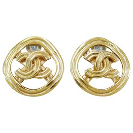 Chanel-Chanel Vintage Round Clip Earrings-Golden