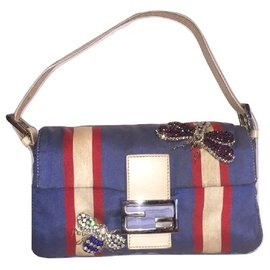 Fendi-FENDI silk and leather collector wand-White,Red,Blue