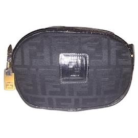 Fendi-FENDI clutch bag black Zucca canvas and epi leather-Black